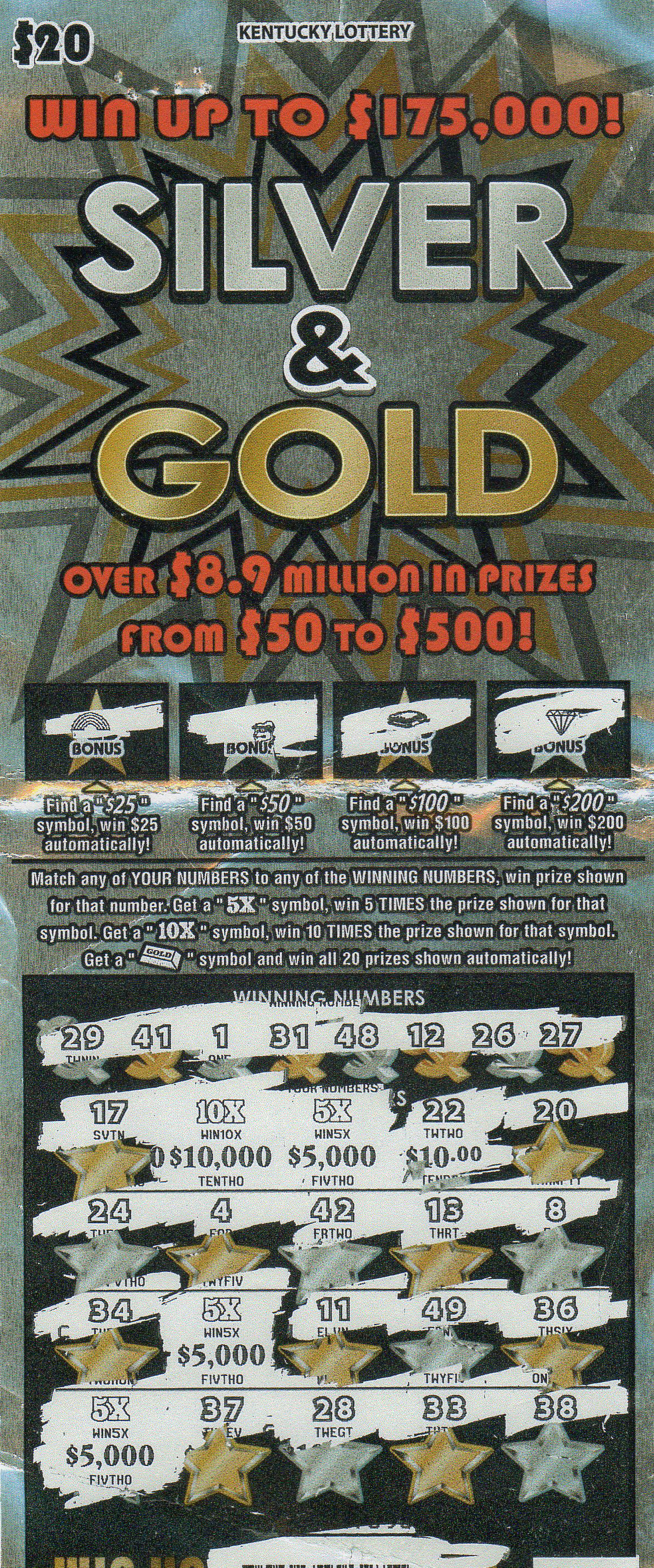 $175,000 Silver & Gold top prize tkt 6-11-18